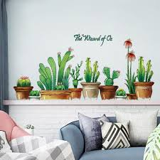 Cactus Pots Wall Decal Green Plants Wall Stickers Kids Wall Etsy