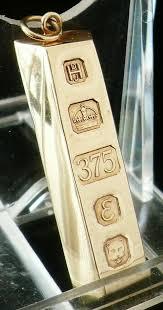 9ct gold pendant ingot bar london 1979