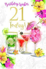 21st 21 Drinks Cocktails Glasses Flowers Umbrella Design Happy Birthday Card Amazon Co Uk Kitchen Home