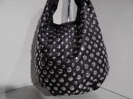 black leather studded circle hobo purse