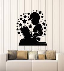 Vinyl Wall Decal Boy Reading Book Kids Room Children S Library Sticker Wallstickers4you
