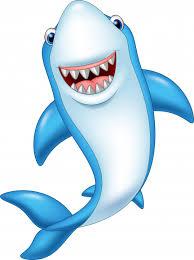 cartoon funny shark isolated on white