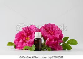 dark glass vial with rose essential oil