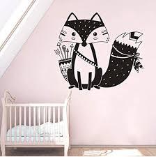 Amazon Com Mrqxdp Woodland Style Fox Wall Decal Tribal Fox With Arrows Vinyl Wall Sticker Kids Bedroom Decor Animal Theme Fox Wall Poster 57x50cm Decorativo Habitacion Cameretta Adesiva Muro Kitchen Dining