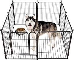 Amazon Com Tooca Dog Pen Indoor 40 Inches Tall Dog Fence Playpens Exercise Pen For Large Dogs Outdoor 8 Panels Ball Poles Design Metal Foldable Barrier With Door Black Pet Supplies
