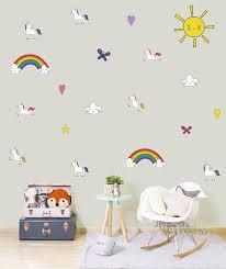Amazon Com Unicorn Vinyl Unicorns Wall Decals Rainbow Vinyl Baby Room Decal Nursery Decal Sunshine Sun Rainbow Clouds Nursery Wall Decal Decor Handmade