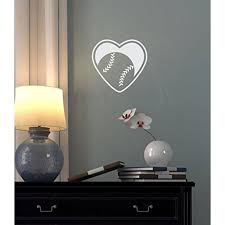 Wall Decal Stickers Baseball Heart Sports Art Wall Decals Vinyl Stickers For Teen Room Decor White 12x12 Inch Walmart Com Walmart Com