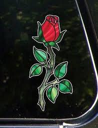 Clr Car Rose Rosebud On Stem Stained Glass Vinyl Car Decal C Yydc 3 W X 7 H Ebay