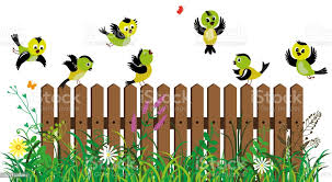 Funny Colored Birds On The Background Of Fence Grass And Flowers Stock Illustration Download Image Now Istock