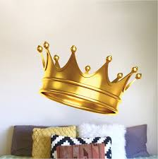 Gold Crown Wall Mural Decal Boys Room Wallpaper King Crown Wall Stickers Bedroom Headboard Wall Decal Murals Primedecals