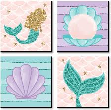 Amazon Com Big Dot Of Happiness Let S Be Mermaids Kids Room Nursery Decor And Home Decor 11 X 11 Inches Nursery Wall Art Set Of 4 Prints For Baby S Room Toys Games