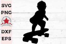 Baby On Skateboard Clipart Silhouette Svg Car Decal 359366 Illustrations Design Bundles