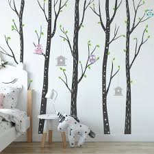 Birch Tree Wall Vinyls Nursery Forest Wall Decals With Owls Etsy