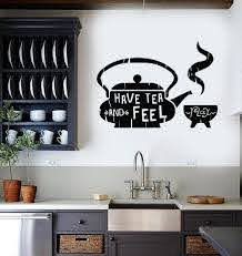 Vinyl Wall Decal Kitchen Quote Tea Teapot Cafe Teahouse Stickers Unique Gift Ig3607 Vinyl Wall Decals Kitchen Kitchen Wall Decals Coffee Decor Kitchen