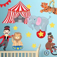 Big Top Circus Wall Decal Kit Carnival Animals Wall Decal By Etsy In 2020 Animal Wall Decals Wall Decals Big Top Circus