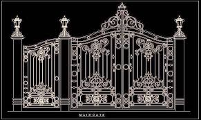 Beautiful Main Entrance Gate In Elevation Cad Drawing Autocad Dwg Plan N Design