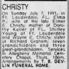 Elma Priscilla Graham Christy obituary, 1991 x - Newspapers.com