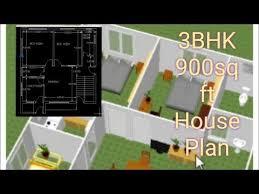3bhk 900 sq ft house plan 3d plan
