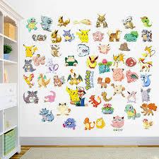 Hot Pokemon Go Cute Pikachu Wall Decals Sticker Vinyl Mural Kids Room Decor Uk