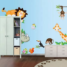 Cute Cartoon Zoo Animals Nursery Wall Decal Stickers Baby Boy Girl Room Bedroom Wall Art Decor Wallsymbol Com