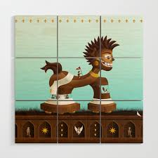 Trojanix The Lion Horse Wood Wall Art By Typoric Society6