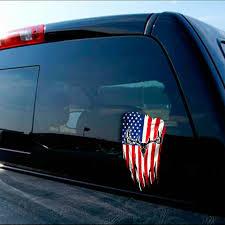 American Flag Distressed Whitetail Deer Skull Decal
