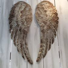 large metal angel wings wall decor