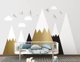 Mountains Wall Decal Gold And Black Mountains Wall Mural Etsy