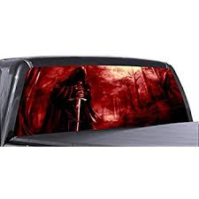 Red Flame Grim Reaper Skulls Rear Window View Thru Graphic Decal Wrap