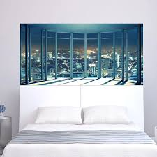 American Night Light City Scene Wall Decal For Sofa Head Of Bed Bedside Vinyl Mural Easy Removable Sticker Wall Stickers Aliexpress