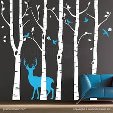 Wall Decals Birch Trees Deer Birds Surface Graphics Interior Decor Woodsy Forest Nursery Theme Graphicsmesh