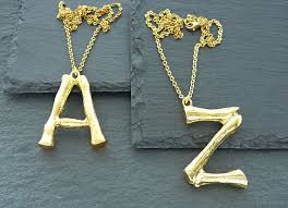 necklace gold letter pendant bamboo