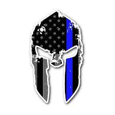 Spartan Helmet Thin Blue Line Flag Sticker Thin Blue Line Shop