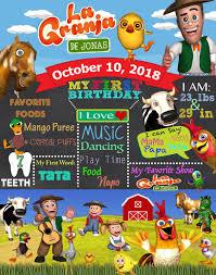 La Granja Birthday Chalkboard Sign Invitaciones De La Granja