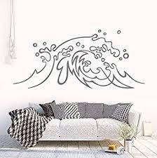 Amazon Com Dalxsh Nautical Design Wall Sticker Ocean Wave Vinyl Wall Decal Surf Art Home Bedroom Decor Beach Theme Sea Waves Wall Murals 57x26cm Furniture Decor