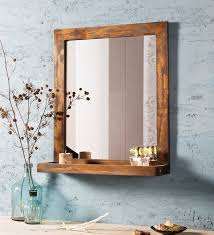 mango wood framed brown bathroom mirror