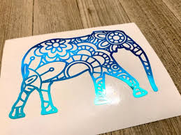 Blue Green Holographic Elephant Decal Elephant Decal Etsy