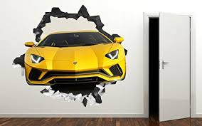 Lamborghini 3d Wall Decal Smashed Sticker Vinyl Decor Sport Car Mural Yellow Broken Wall 3d Designs Ls18 Small Wide 22 X 16 Height Wantitall