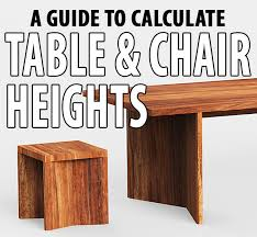 list of standard table chair heights