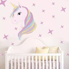 New Cute Unicorn And Bling Stars Wall Decal Art Stickers Vinyl Home Room Decors Ia Wall Stickers Aliexpress