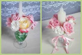 candle and flower wineglass arrangements