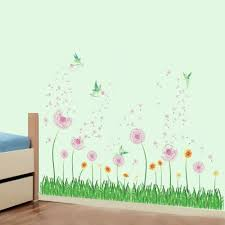 Amazon Com Decalmile Pink Dandelion Grass Fairy Wall Corner Decals Baseboard Skirting Line Wall Stickers Living Room Bedroom Wall Art Decor W 51 Inches Kitchen Dining