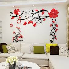 Rose Flower Vine Acrylic Mirror Wall Stickers Living Room Bedroom Diy Art Wall Decor Tv Background Waterproof Wall Stickers Buy At The Price Of 12 60 In Aliexpress Com Imall Com