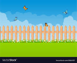 Summer Garden Scene With Wooden Fence And Blue Sky