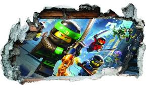 Gng 3d Lego Ninjago Movie Kids Smashed Wall Sticker Boys Girls Bedroom
