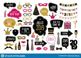 happy new year photo booth props stock vector illustration
