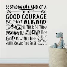 Joshua 1 9 Be Strong And Of Good Courage Bible Verse Wall Etsy