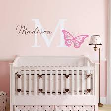 Butterfly Wall Decal Girls Name And Initial Sticker Girl Bedroom D Stephen Edward Graphics