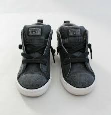 gray leather kids mid top sneakers