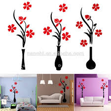 Acrylic 3d Plum Flower Vase Wall Stickers Home Decor Creative Wall Decals Living Room Entrance Painting Flowers For Room Diy Buy Acrylic 3d Plum Flower Vase Wall Stickers Home Decor Creative Wall